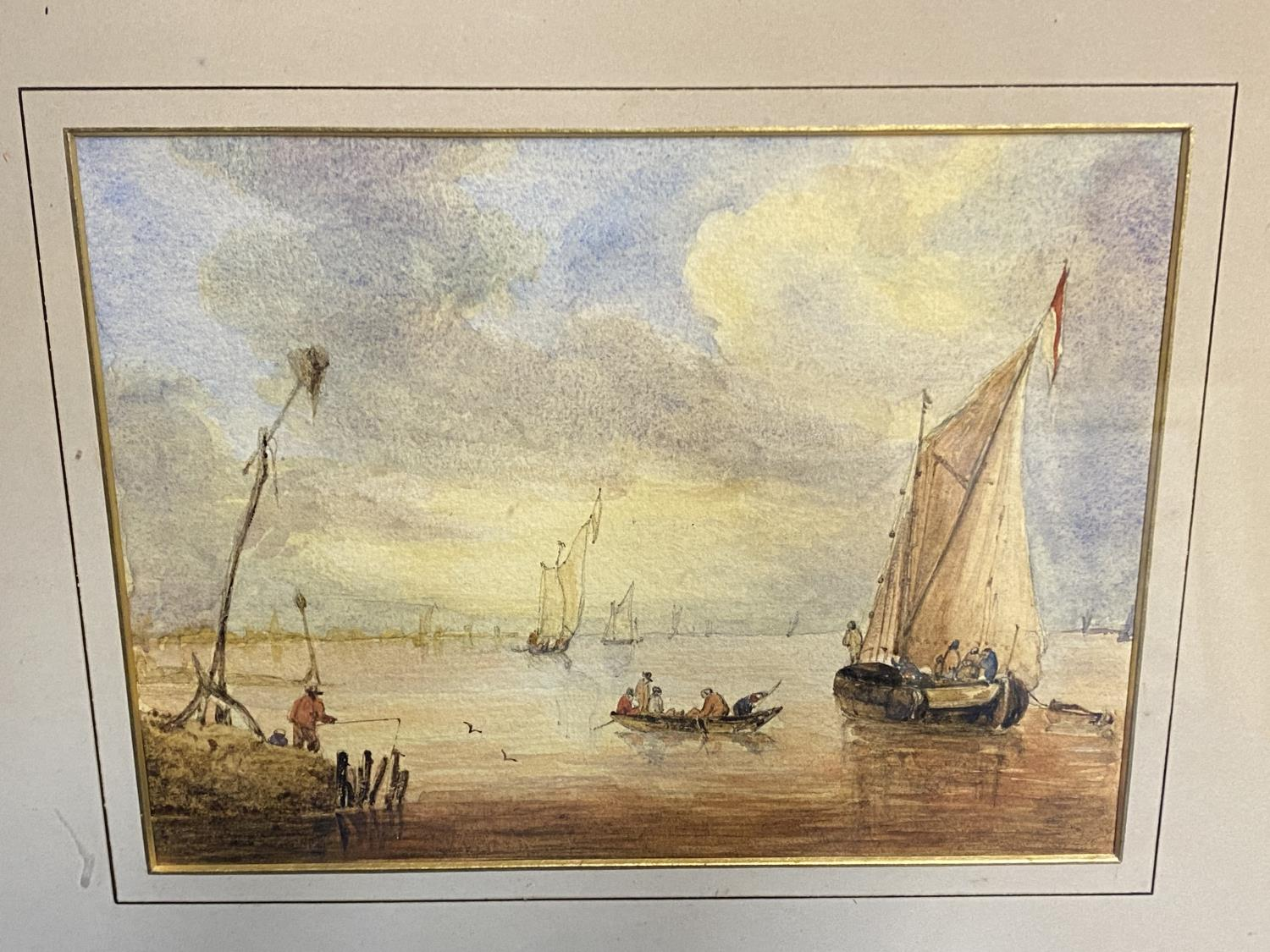 C19th watercolour, two fishing boats moored in an Estuary, signed M Snape, 14 x 37cm (condition, - Image 2 of 10
