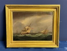C19th, oil on canvas, 2 sailing ships in a stormy sea, windmill in distance, indistinctly signed