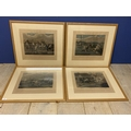 """Set of 4 framed and glazed coloured prints, """"The first steeple chase on record"""" (Midnight"""