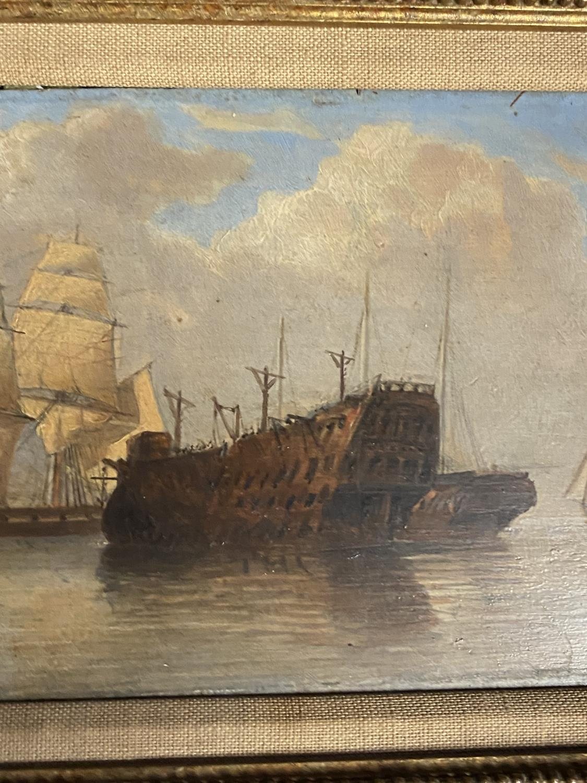 JOHN CHRISTIAN SCHETKY (1778-874) Oil on board, The Odin Hulk and a Man of War, Portsmouth - Image 6 of 19