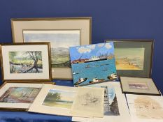 Quantity of pictures to include a watercolour of Northumberland K M Welch