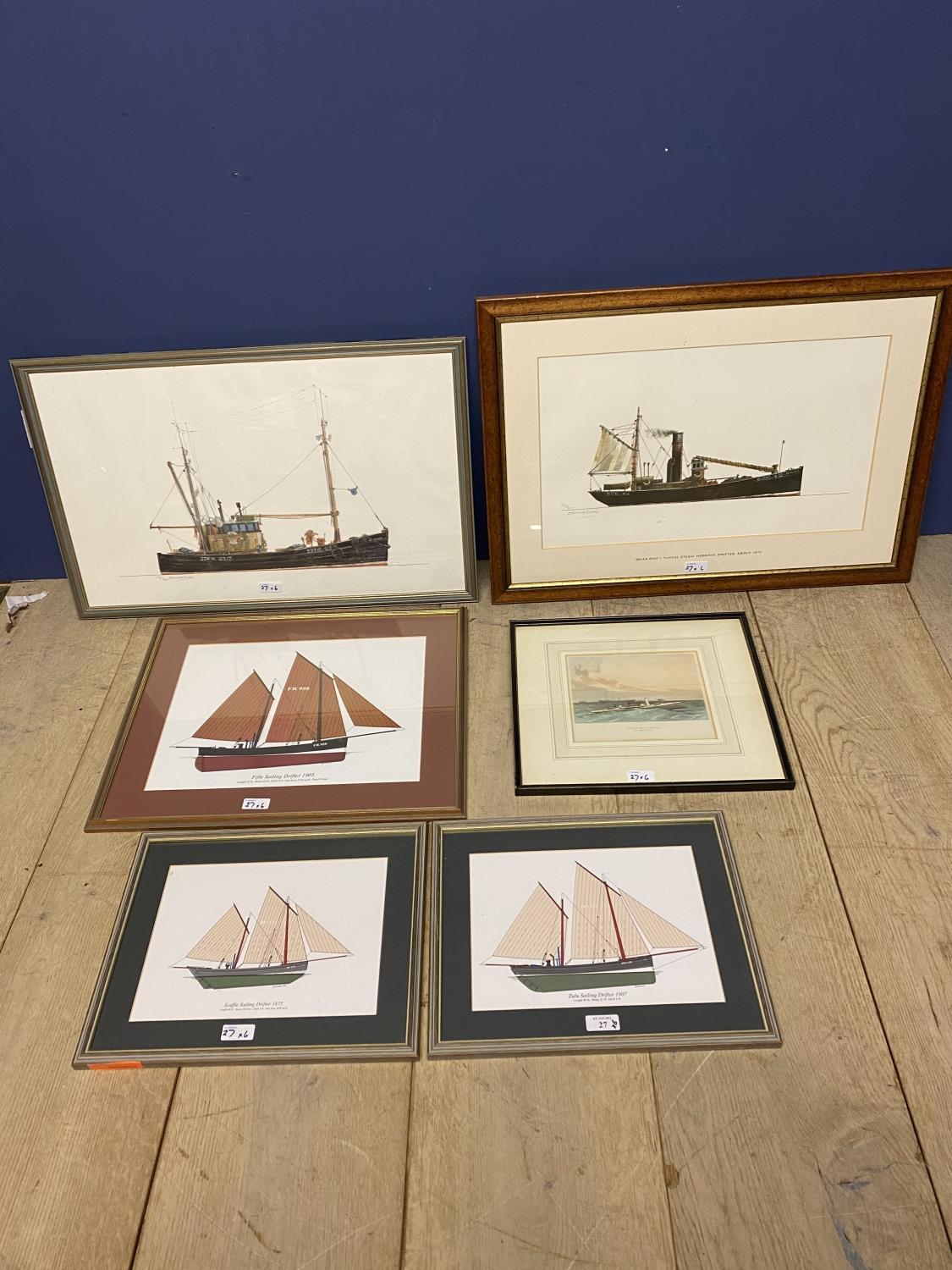Six modern coloured nautical prints (all in fair condition)