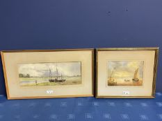 C19th watercolour, two fishing boats moored in an Estuary, signed M Snape, 14 x 37cm (condition,
