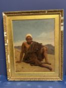 Late C19th, oil on canvas, Moroccan boy in desert, monogramed lower left, GF Cairo 1871, (possibly