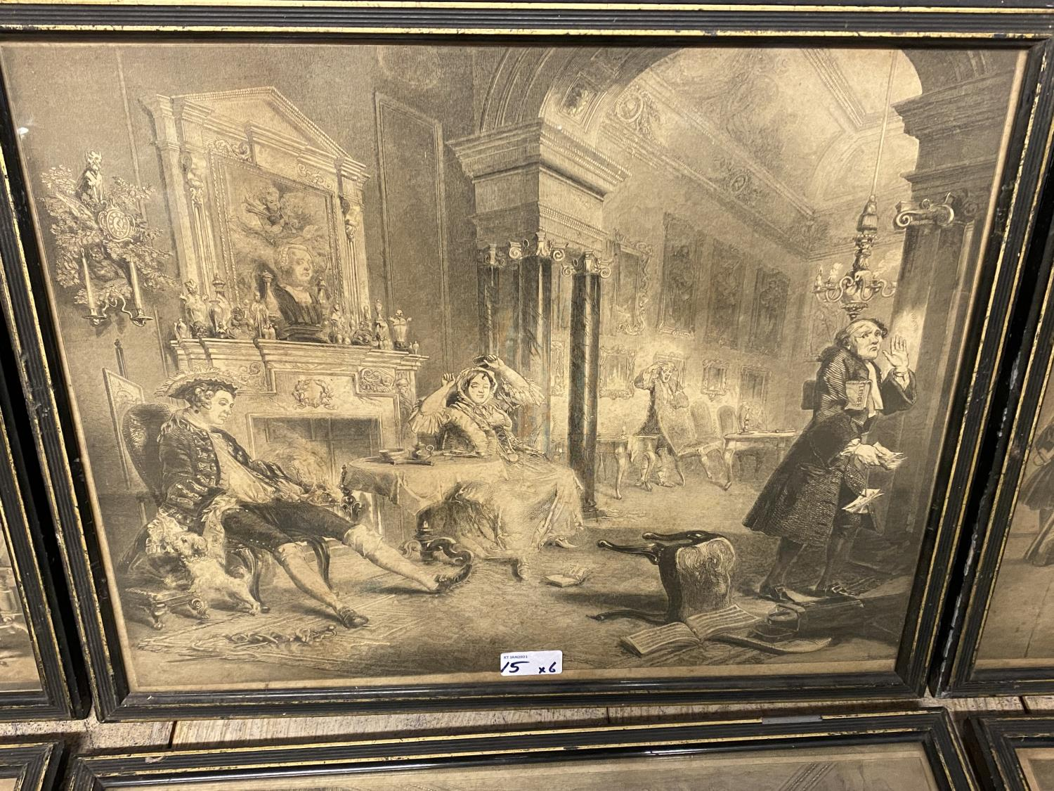 Six Hogarth black and white engravings, various plates, including Marriage a la Mode, in original - Image 5 of 8