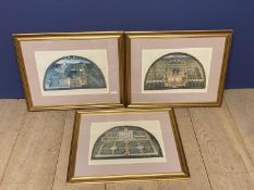Set of 3 framed and glazed coloured prints of formal Italian gardens, see images for names good