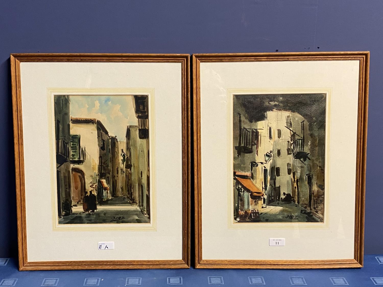 Pair oils on canvas, Impressionist style street scene, one labelled Palma de Mallorca, 1989,