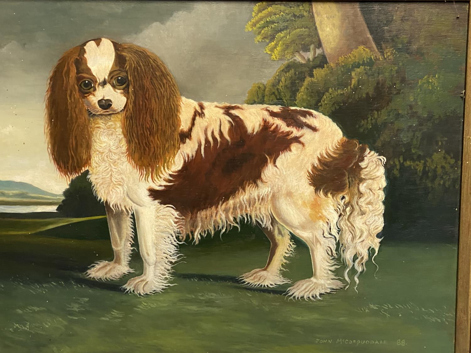 C20th oil on board, study of a King Charles Spaniel, signed and dated John McCorquodale 88, 40 x - Image 2 of 4