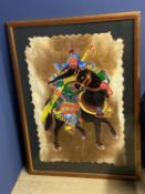Large framed and glazed painting of a Chinese warrior on a horse, mixed media including mounted on a