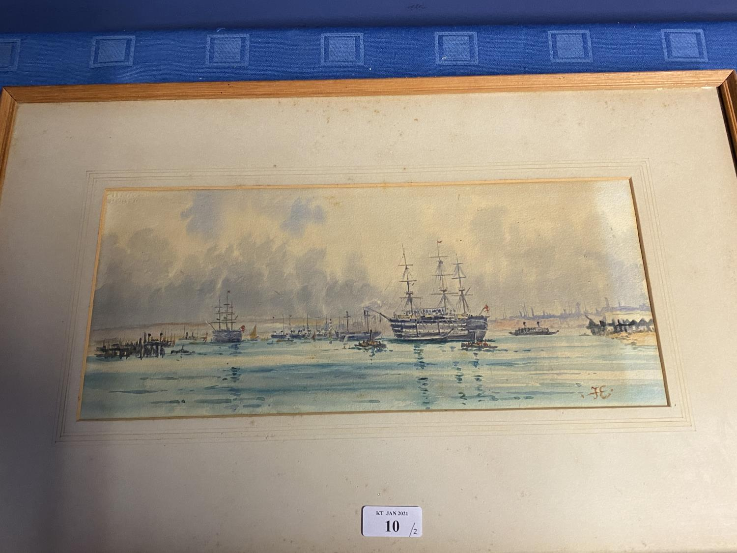 C19th watercolour, sailing ships, initial JE lower right, 16 x 37cm (condition, some tiny foxing - Image 7 of 16
