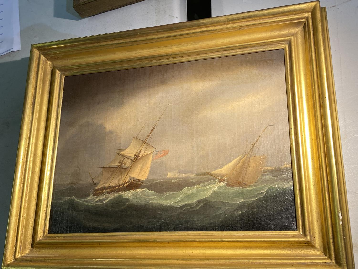 C19th, oil on canvas, 2 sailing ships in a stormy sea, windmill in distance, indistinctly signed - Image 3 of 5