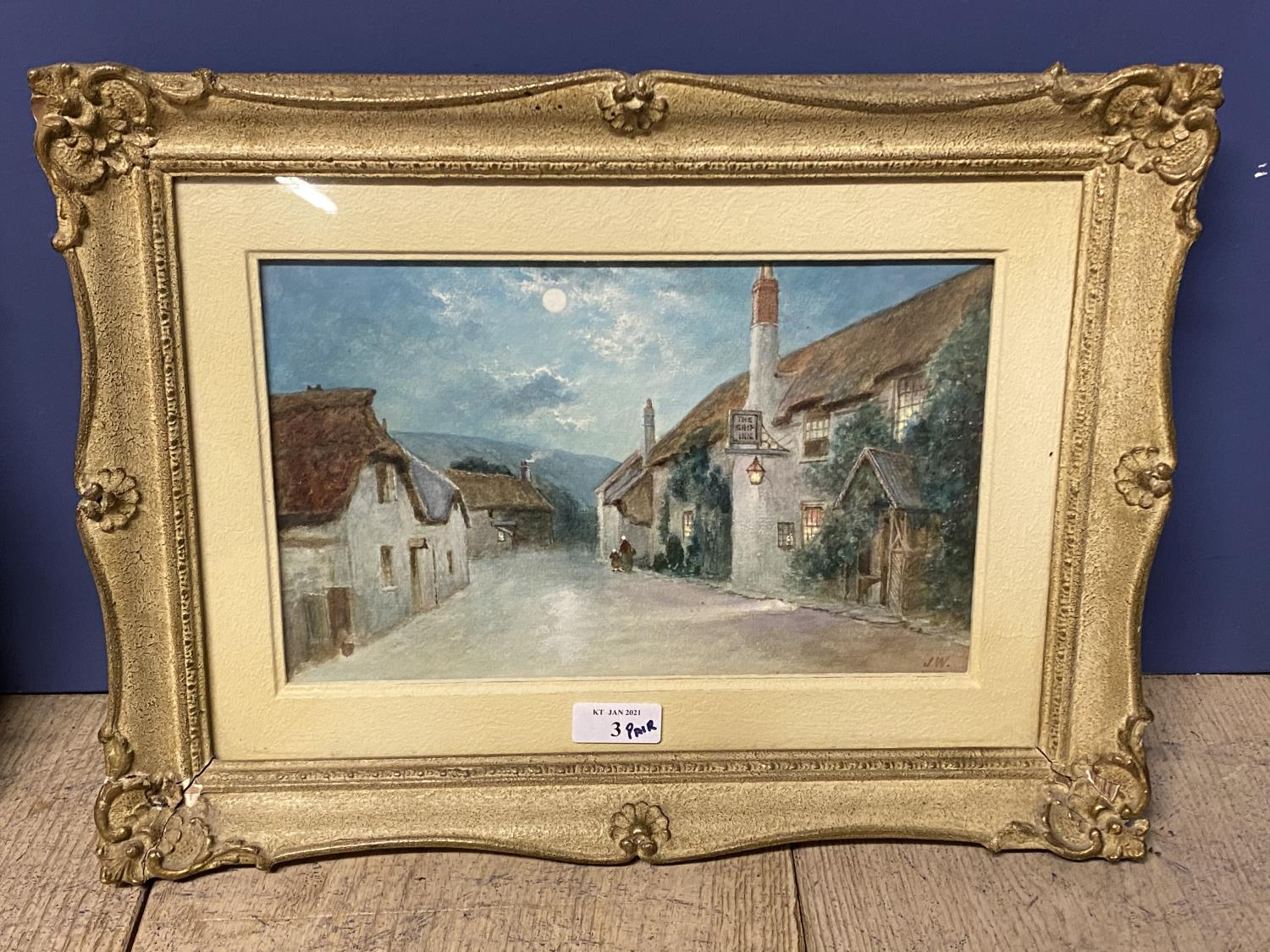 Pair of C19th watercolours, label verso, Cheddar Village and Porlock Village by Moonlight, J Wilson, - Image 3 of 7