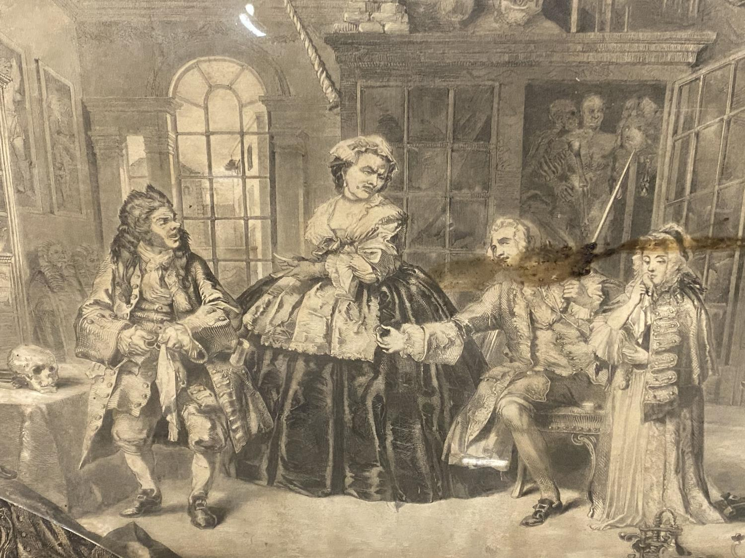 Six Hogarth black and white engravings, various plates, including Marriage a la Mode, in original - Image 3 of 8