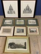 9 various architectural prints, including set of 3 vintage prints of tennis courts of London ,