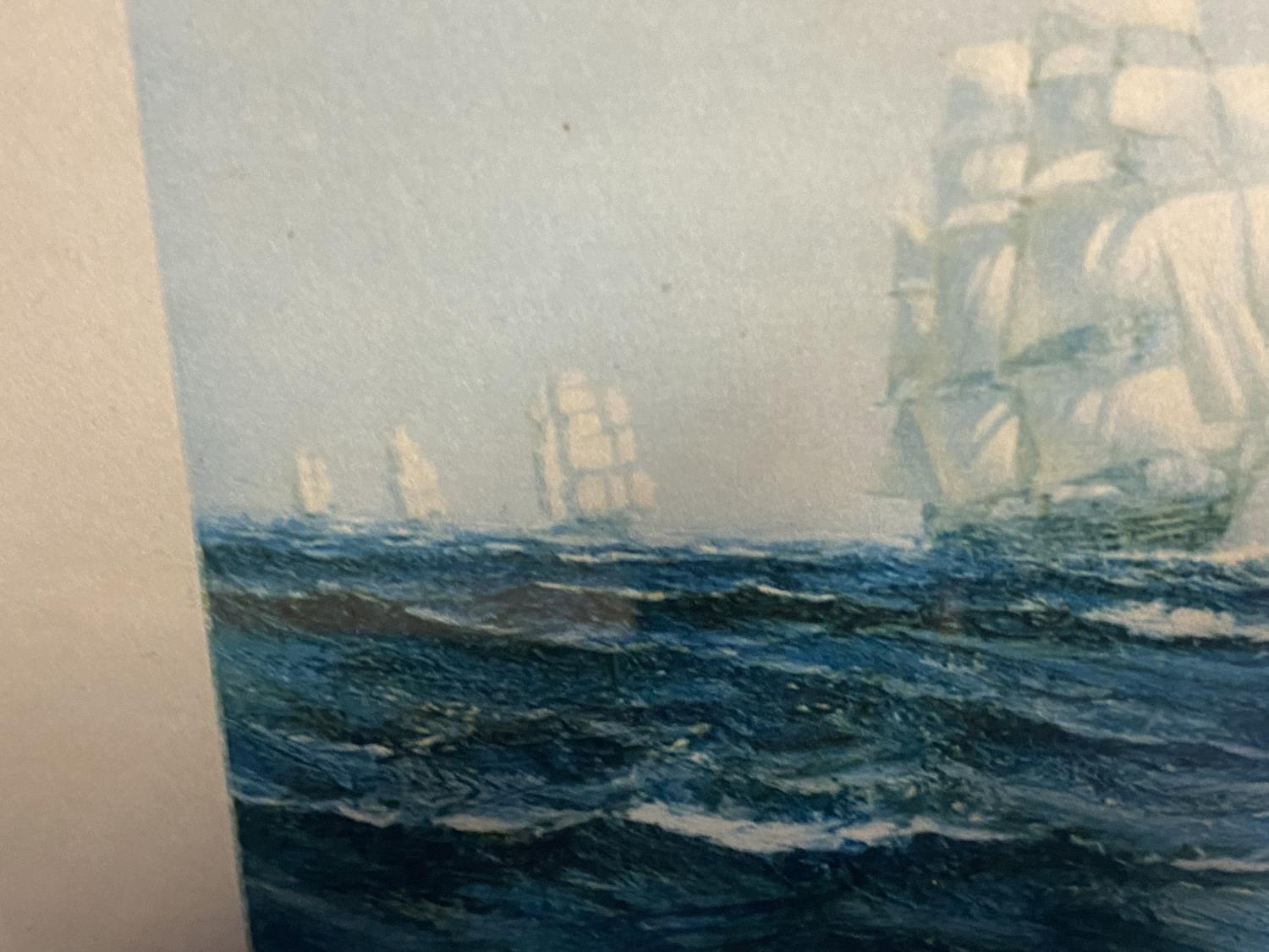 Black and White etching on Paper, Sailing ship fully rigged at sea, 17 x 30cm , signed and titled in - Image 5 of 15