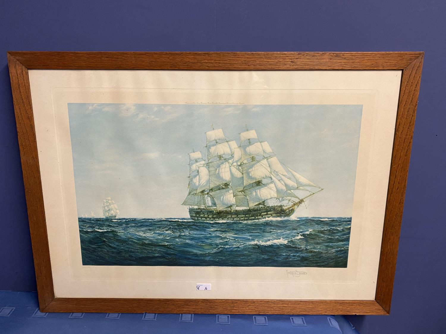 Black and White etching on Paper, Sailing ship fully rigged at sea, 17 x 30cm , signed and titled in - Image 3 of 15