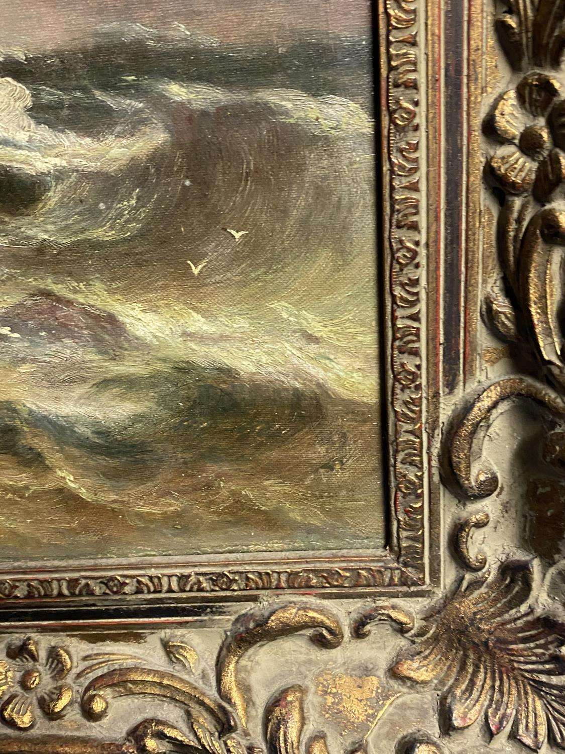 C19th oil on canvas, figures on rocks within a stormy sea, 50 x 60cm - Image 3 of 3