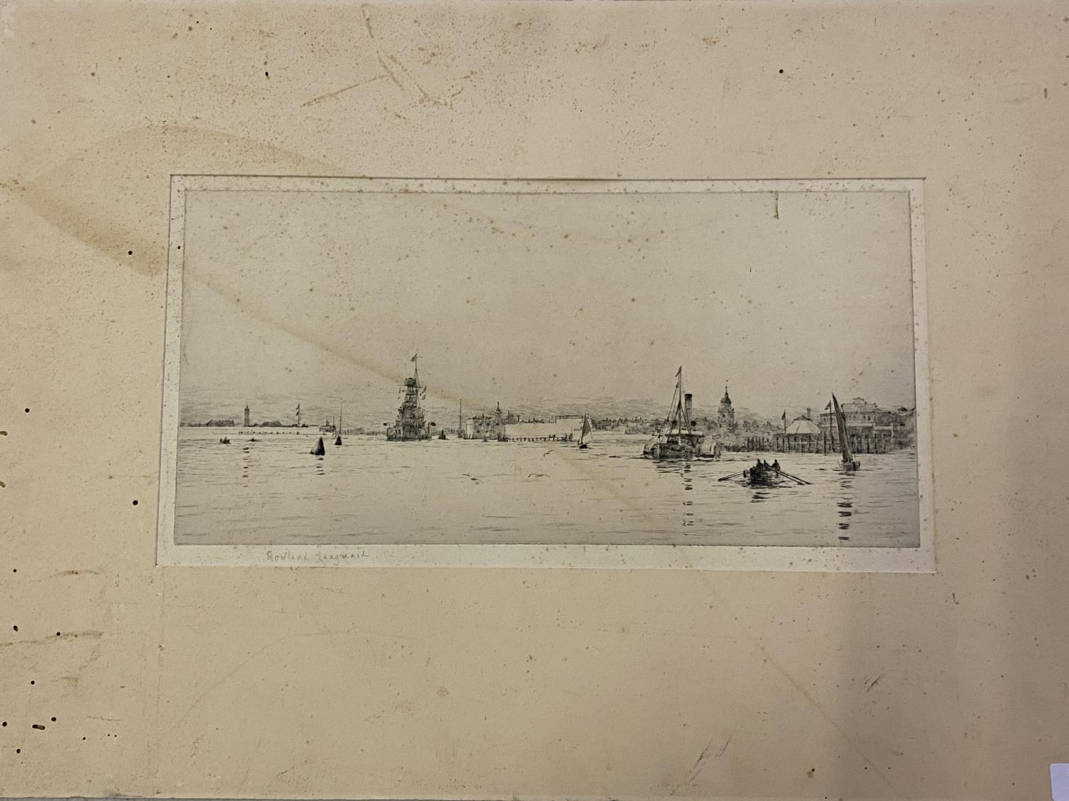 Unframed black and white maritime engraving, signed in pencil on mount, Rowland Langmaid 17 x 35