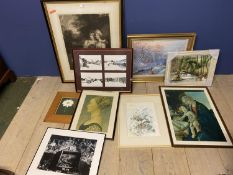 Quantity of framed and glazed prints and numerous small frames all house clearance lots