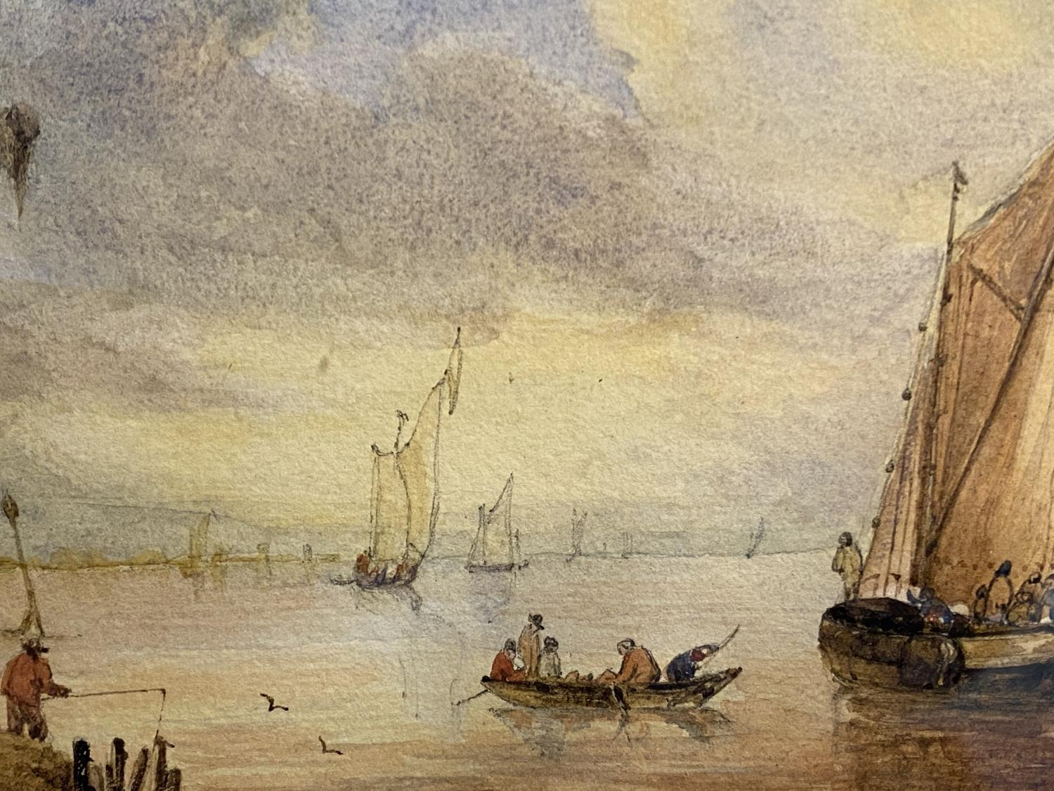 C19th watercolour, two fishing boats moored in an Estuary, signed M Snape, 14 x 37cm (condition, - Image 6 of 10