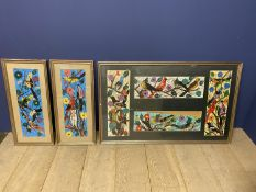 Three framed and glazed mixed media on paper brightly coloured studies of birds, all signed,