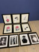 10 framed and glazed prints to include; set of 6 modern Chinese and a set of 4 fashion (condition