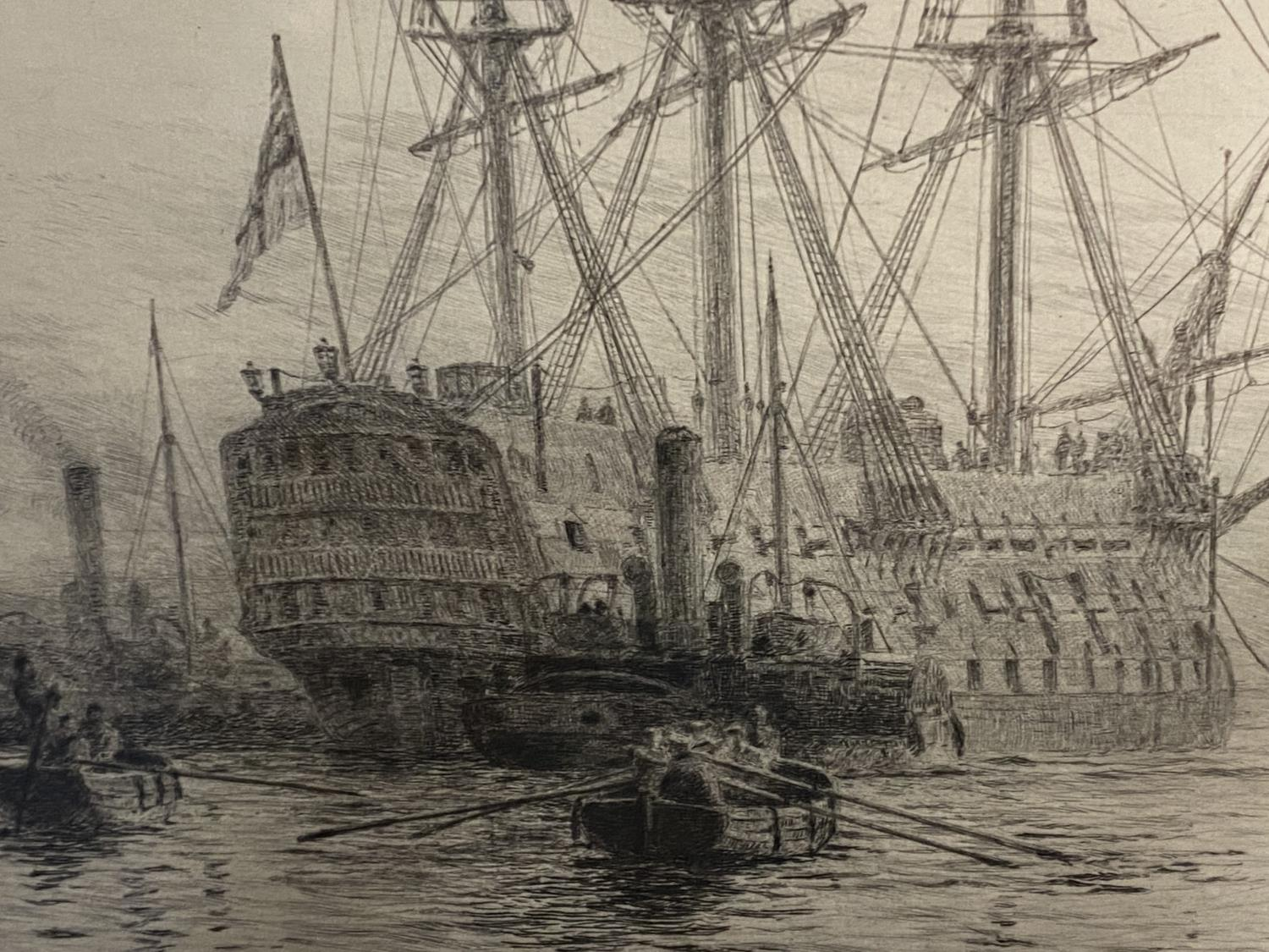 William Wylie, (1851-1931-), etching, Man of War with tugs in harbour, signed in pencil lower left - Image 2 of 12
