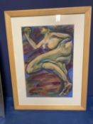 Contemporary pastel, abstract figure, titled and signed verso, Floating Dream , M H Graham 2005,