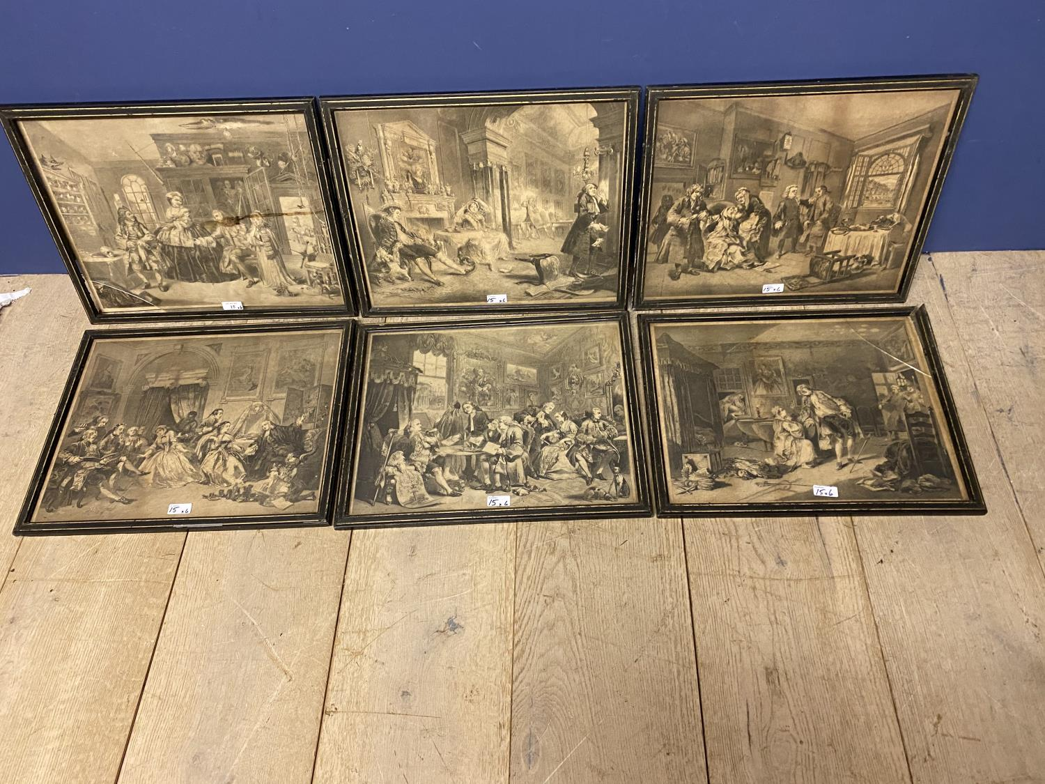 Six Hogarth black and white engravings, various plates, including Marriage a la Mode, in original