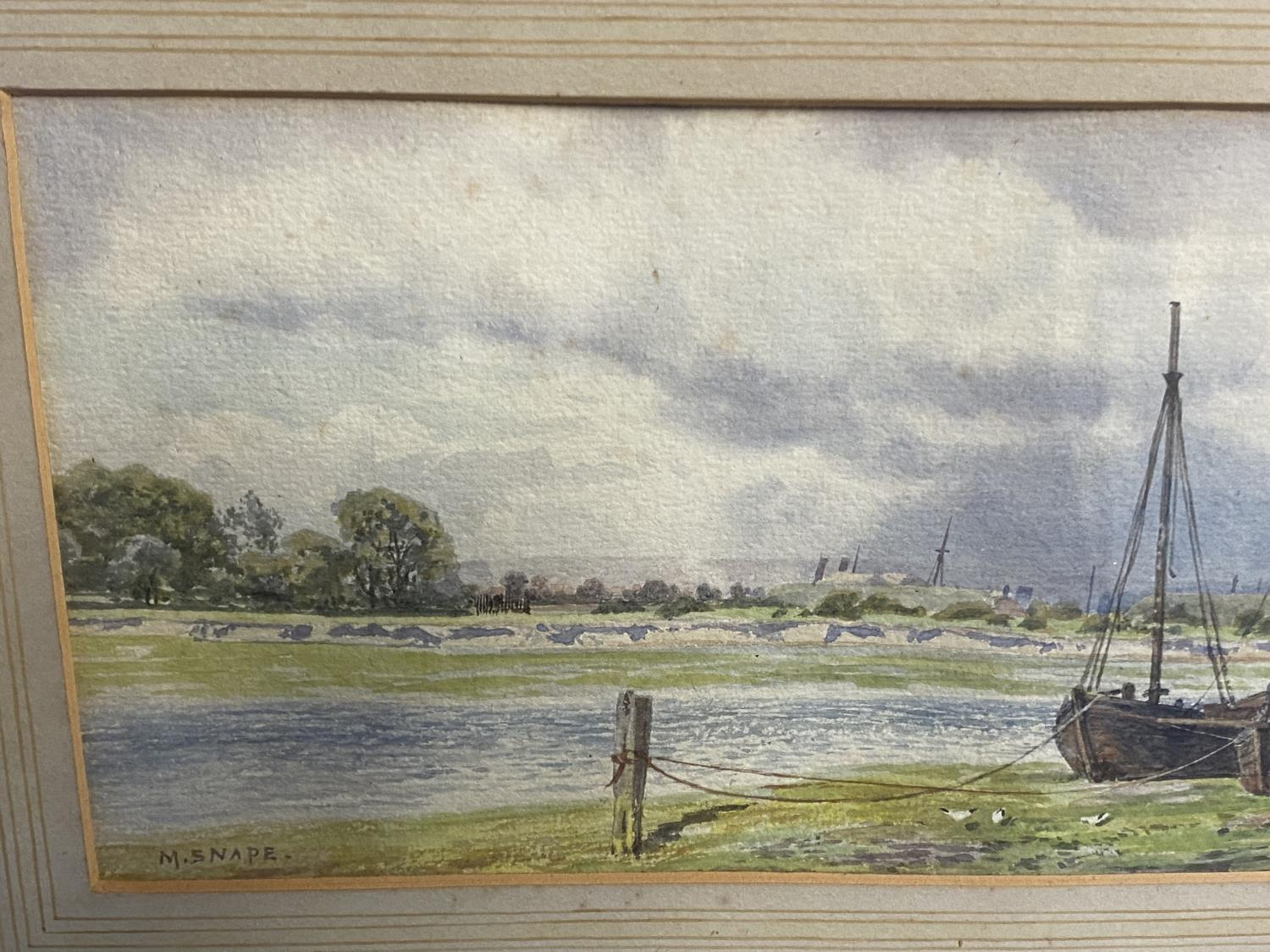 C19th watercolour, two fishing boats moored in an Estuary, signed M Snape, 14 x 37cm (condition, - Image 3 of 10