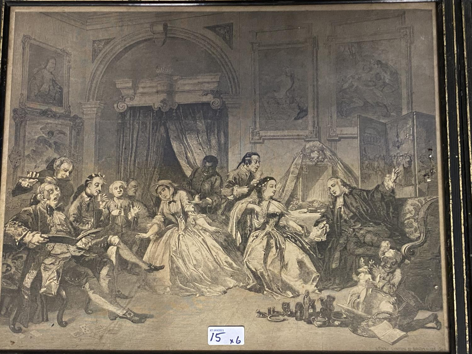 Six Hogarth black and white engravings, various plates, including Marriage a la Mode, in original - Image 2 of 8