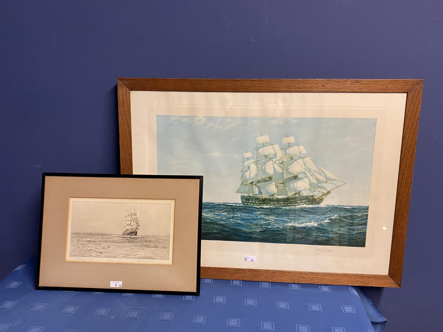Black and White etching on Paper, Sailing ship fully rigged at sea, 17 x 30cm , signed and titled in