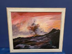 Contemporary oil on canvas, Stormy sea, signed F Paarone?, overall size 47 x 58 cm , being sold
