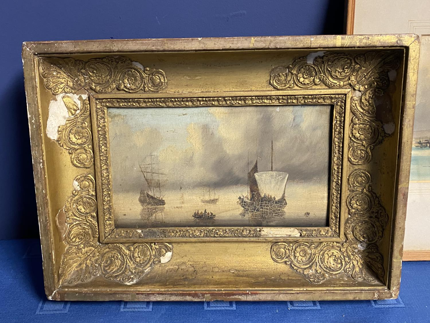 C19th watercolour, sailing ships, initial JE lower right, 16 x 37cm (condition, some tiny foxing - Image 4 of 16