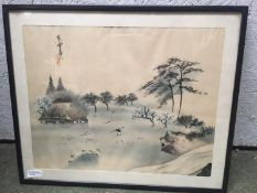 A quantity of Japanese and Chinese coloured prints, including a set of 3