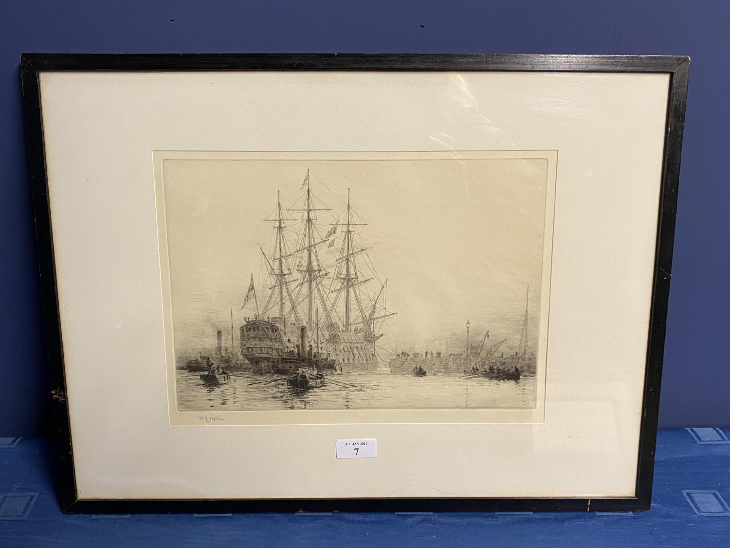 William Wylie, (1851-1931-), etching, Man of War with tugs in harbour, signed in pencil lower left