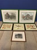 Pair of framed and glazed coloured hunting prints, one after John Leech, the other After Herring -
