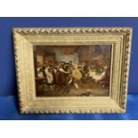 C19th Oil on panel Continental tavern scene with dancing figures, 18 x 25cm, indistinctly signed