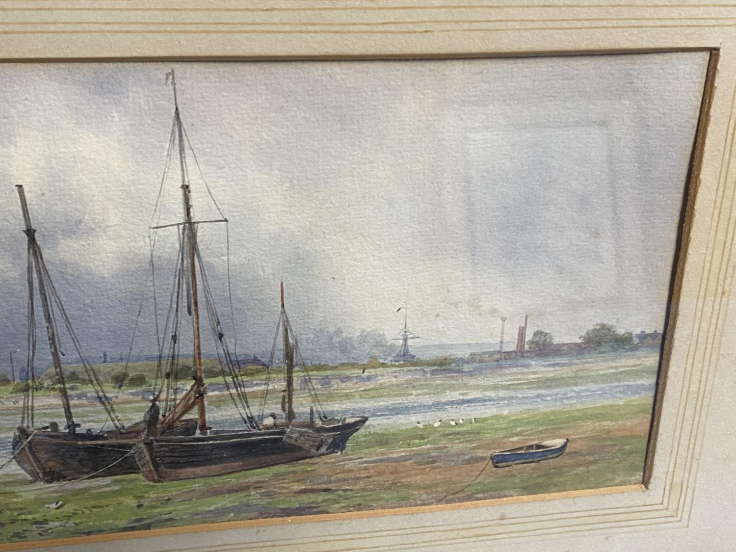 C19th watercolour, two fishing boats moored in an Estuary, signed M Snape, 14 x 37cm (condition, - Image 4 of 10