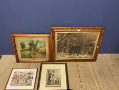 Maple framed engraving, Victorian scene, ponies eating hay in farmyard, maple framed print of game