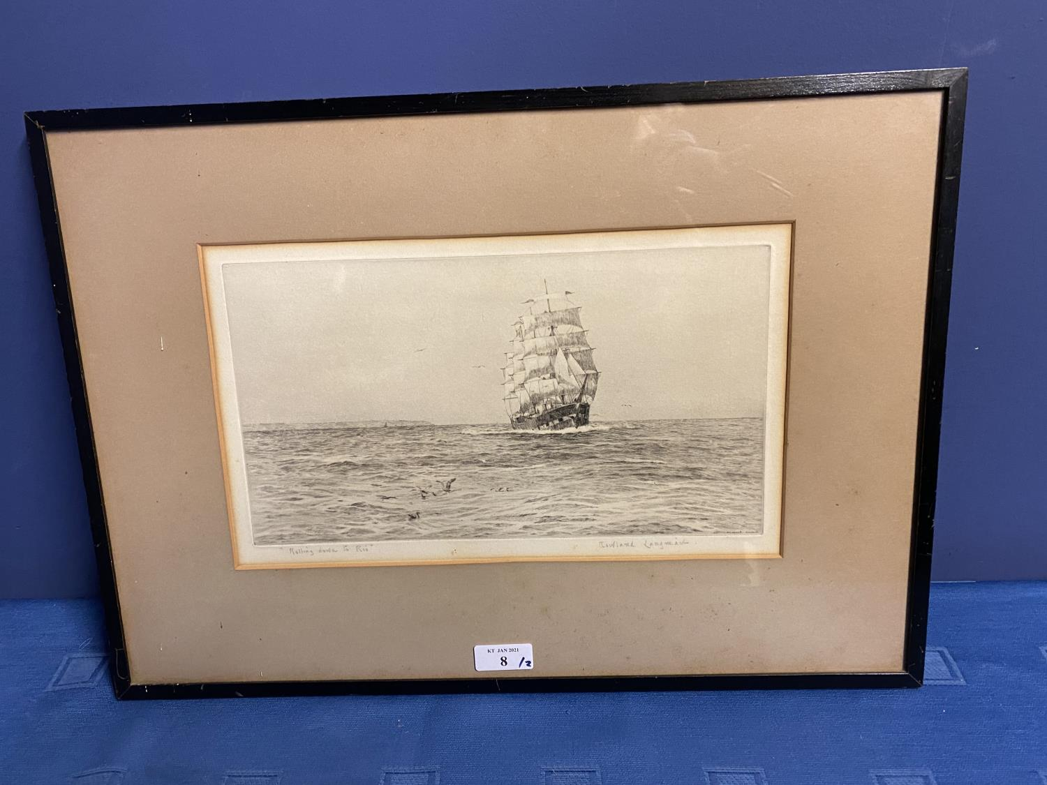Black and White etching on Paper, Sailing ship fully rigged at sea, 17 x 30cm , signed and titled in - Image 9 of 15