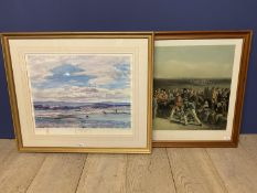 Two large framed and glazed modern coloured golfing prints, The First green Muirfield, signed in