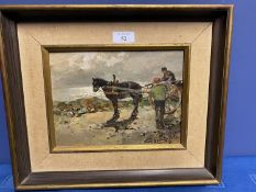 C19th, Italian, Oil on wooden board, titled Cavallo Con Carretto (horse and cart) signed lower right