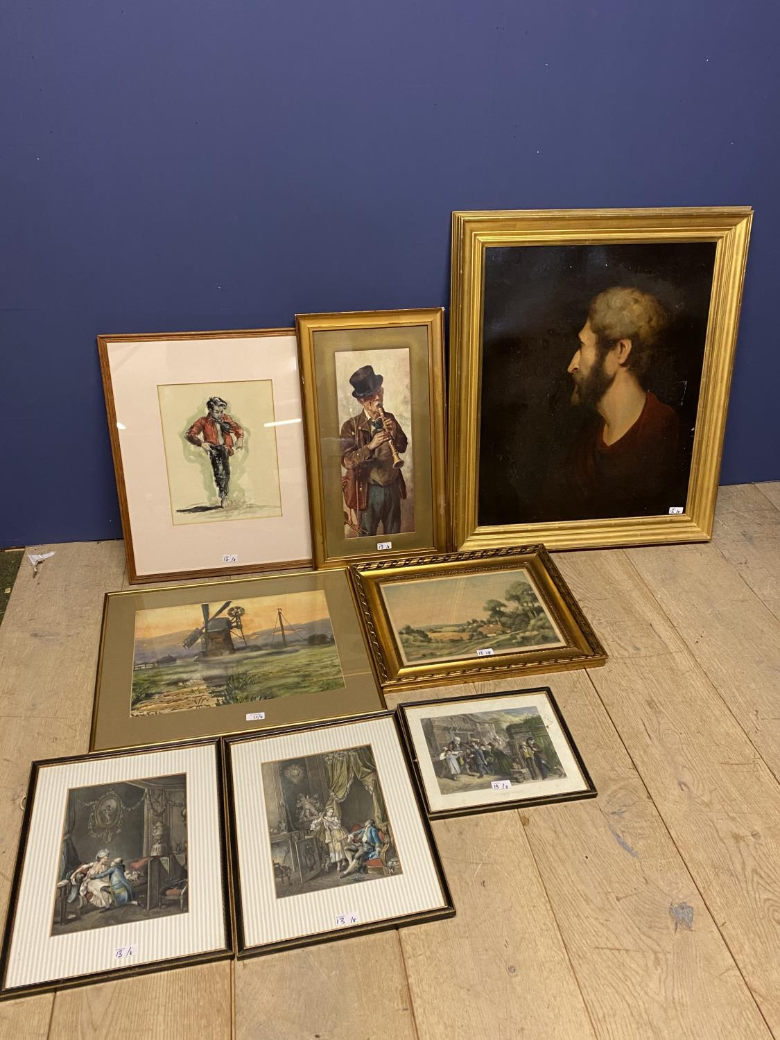 Mixed lot of pictures, to include Windmill scene, W Bach 1907; coloured print cottages; coloured
