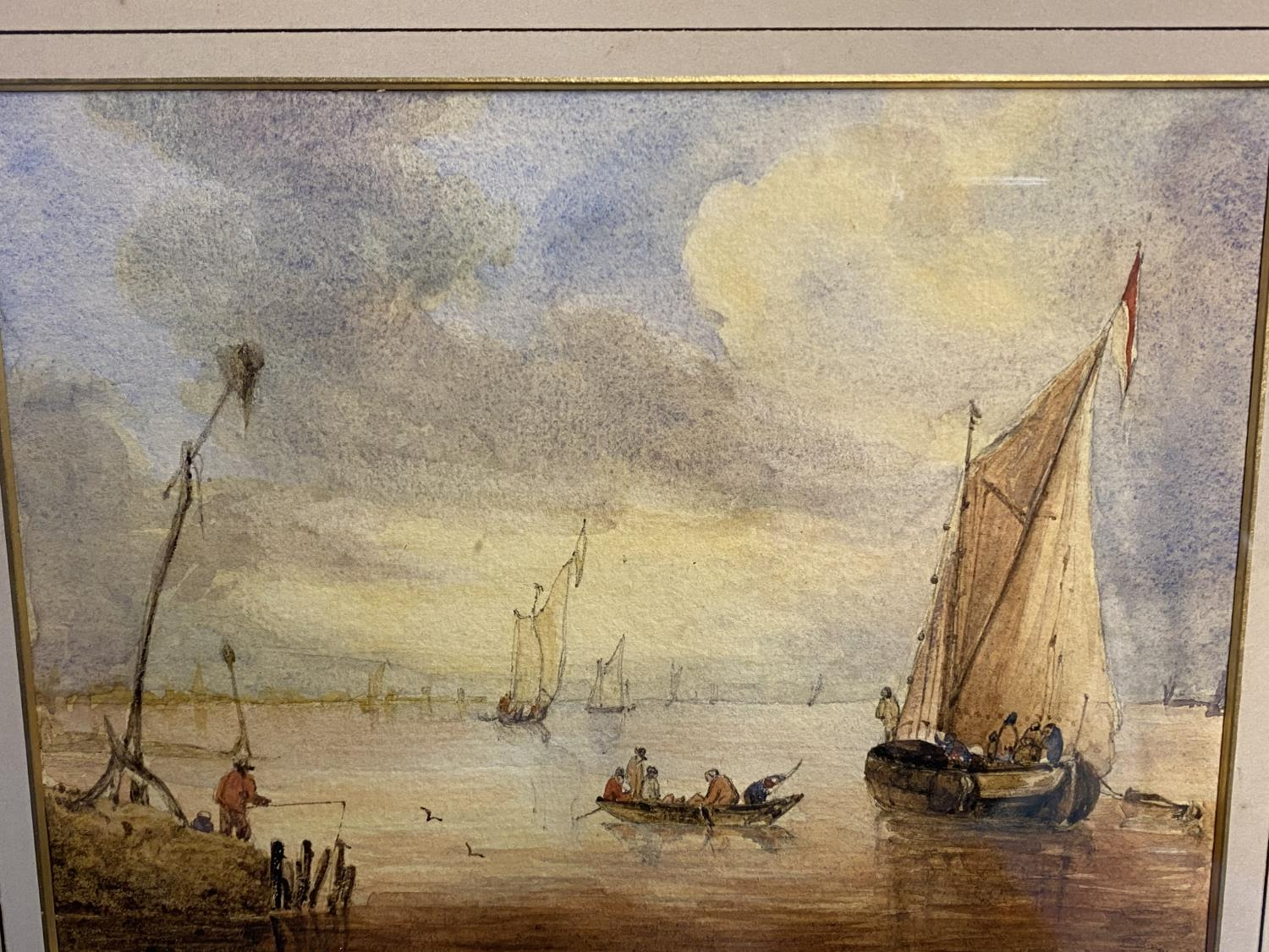 C19th watercolour, two fishing boats moored in an Estuary, signed M Snape, 14 x 37cm (condition, - Image 5 of 10