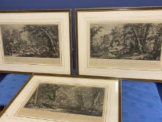 Set of 3 framed and glazed black and white German classical hunting engravings, overall size