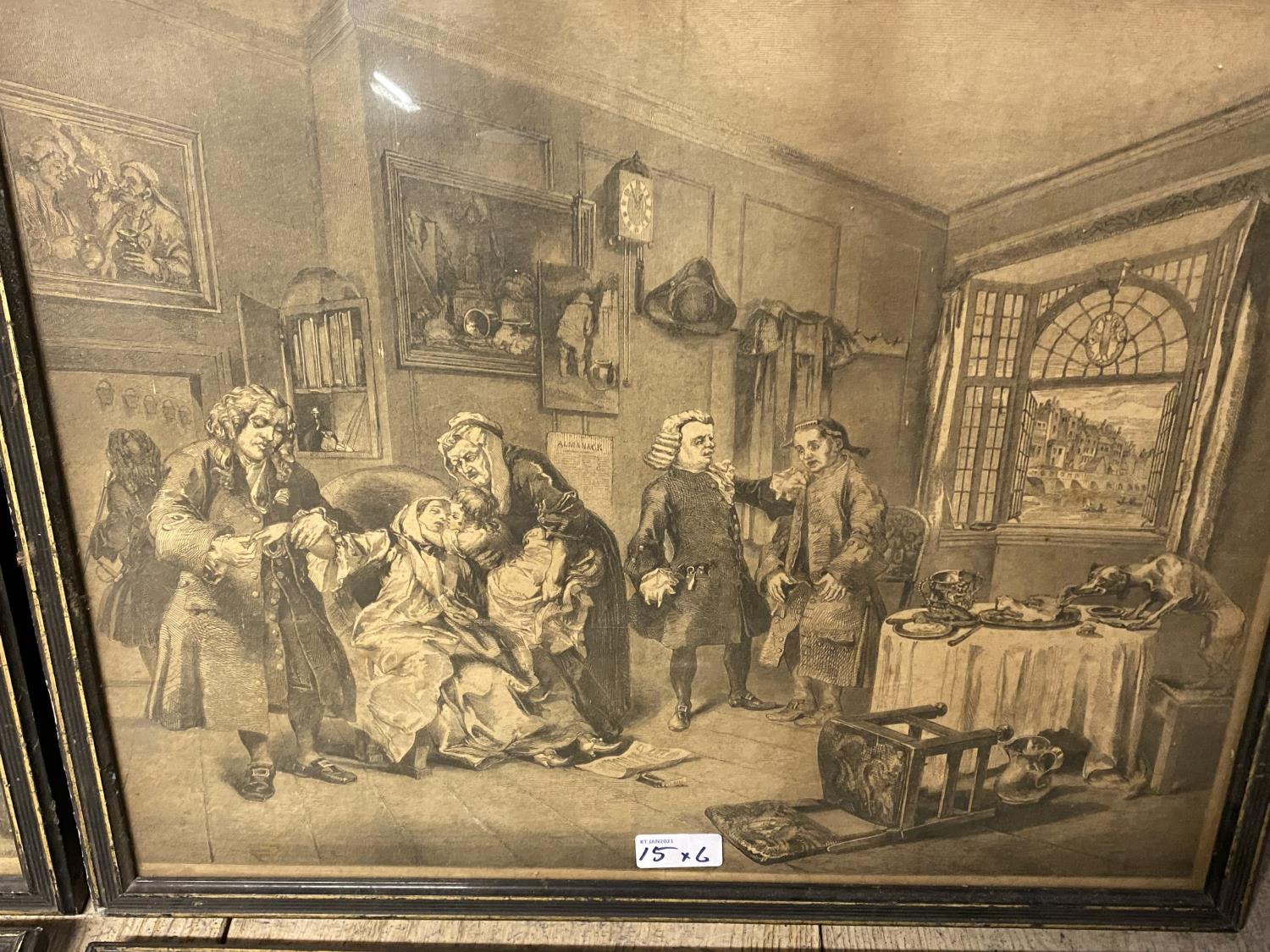 Six Hogarth black and white engravings, various plates, including Marriage a la Mode, in original - Image 6 of 8
