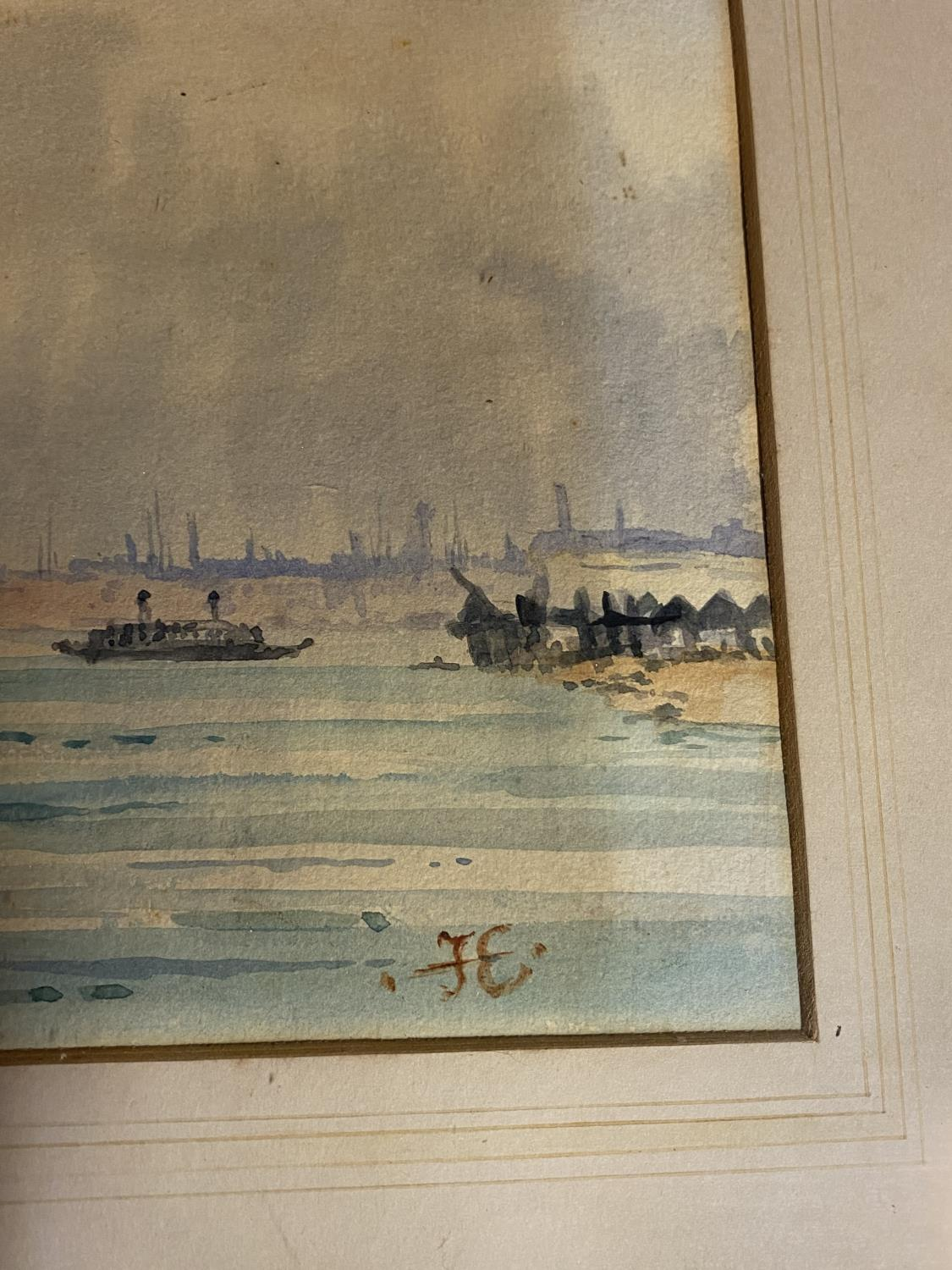 C19th watercolour, sailing ships, initial JE lower right, 16 x 37cm (condition, some tiny foxing - Image 9 of 16