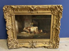 """C19th Oil on canvas, """"Cattle and pigs in a barn"""", in a decorative gilt frame, 29 x 39cm, (relined"""