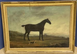 """CHARLES BRANSCOMBE (ACT 1803-1819) Oil on canvas """"Black Hack"""" title verso 43 x 62 in gilt frame ("""
